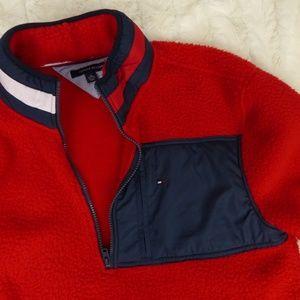 Tommy Hilfiger Jackets & Coats - VTG 90s Tommy Hilfiger Red Fleece Logo Neck XL